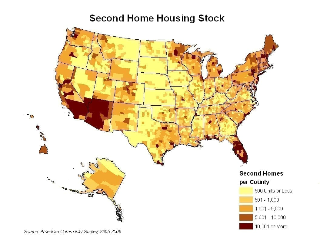 Second homes by county