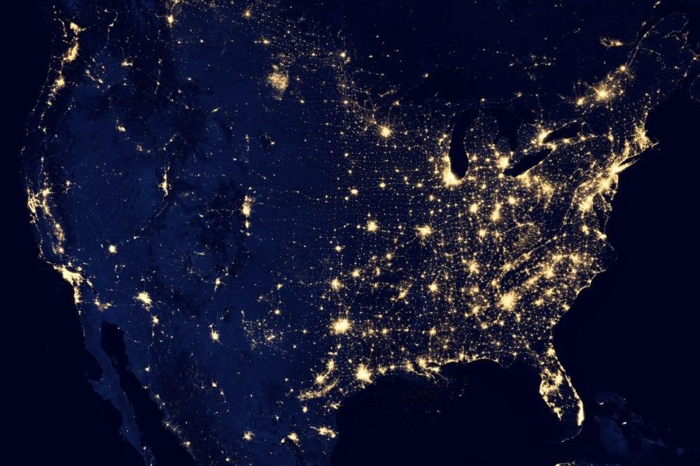 satellite US night light vacation rental network