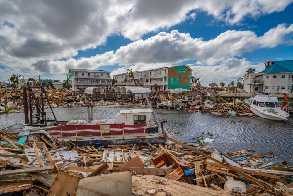 Destruction in Canal Park in Mexico Beach, Florida on October 26, 2018, two weeks after Hurricane Michael made landfall
