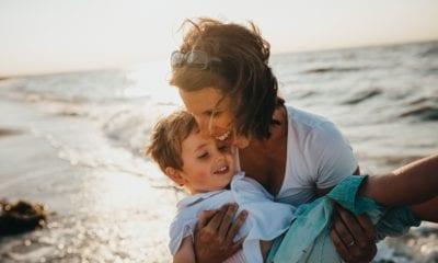family travel mom son